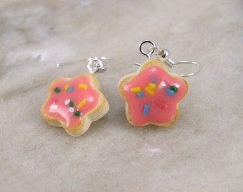 Miniature Tiny Flower shaped Sugar Cookie Polymer Clay Earrings