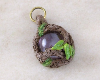 Mystical Woodland Fairy Pendant with Purple Glass Stone