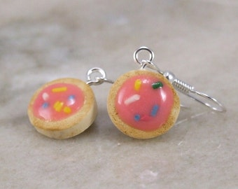 Miniature  Tiny Sugar Cookie Polymer Clay Earrings
