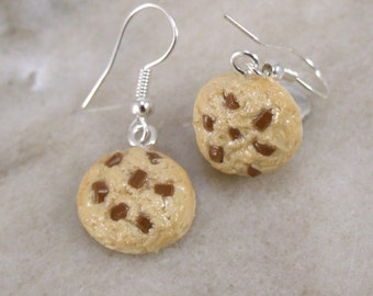 Miniature Tiny Chocolate Chip Cookie Polymer Clay Earrings