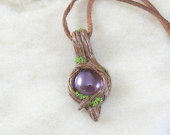 Mystical Woodland Fairy Pendant with Purple Glass Bead