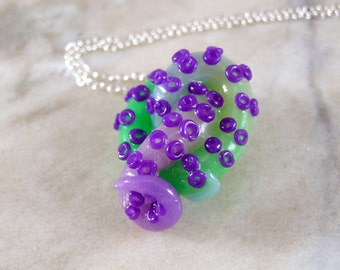Multi- Color Octopus Tentacle Cluster Purple-Green Polymer Clay Necklace