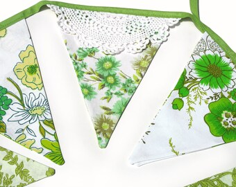 Vintage Bunting >> Pretty Eco - Green Floral & Doily Lace Flags. Boho Shabby Chic . Celebrations Banner, Parties, Party, Wedding etc