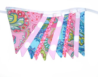Modern Retro Style Psychedelic Party Flag Bunting .  HANDMADE . Banner Decoration Funky Bright Pennant . GIFT IDEA