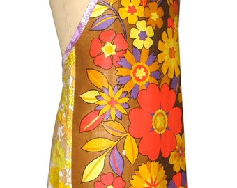 Metro Retro 'Funky Flowers' Vintage Tea Towel Ladies Womens  Kitchen Apron . Christmas , Birthday, Anniversary Gift Idea . Upcycled . OOAK