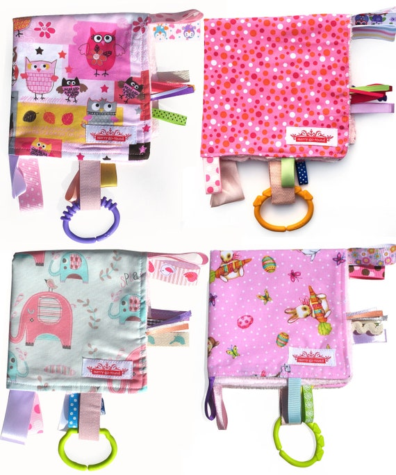ZOO Animals Taggie Taggy Tag Security Blanket Toy Comforter dummy clip holder