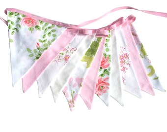 Vintage Bunting - Retro Pretty Pink and Green Floral Flags . Shabby Chic Decoration . Bedroom Decor,  Party, Kitchen High Tea Wedding