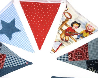 Cowboys and Stars Denim Blue, Red & White Flag Bunting.  HANDMADE . Party, Banner Decoration or Boys Bedroom Pennant . GIFT IDEA