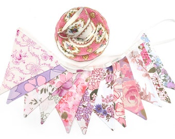 Vintage Bunting - Retro Pink Purple Pretty Floral Flags. Bedroom decor, Birthday Tea Parties, Afternoon Garden Party, Wedding decoration