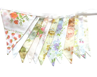 Vintage Bunting - Retro Pretty Spring Pastel & Ivory / White Multi-Colour Floral Flags . HANDMADE . Kitchen High Tea Party, Wedding etc