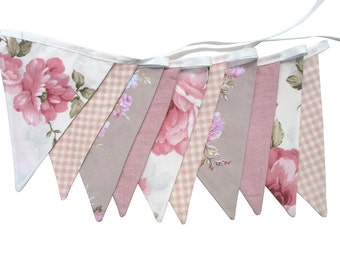 Vintage Style Bunting - Country Check Lace Floral Flags . Garden Tea Party Decoration. Party Banner, Market Stall, Pennant, etc. Upcycled
