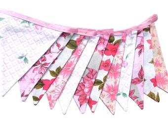 Vintage Bunting - Retro Pink MULTI Floral Flags Shop / Market Display Decoration . Birthday Parties, Garden Party, High Tea, Wedding
