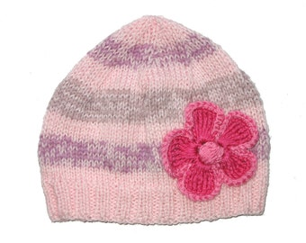 Girls Retro HANDMADE Pink Knitted Stripe Wool Beanie Hat with Large Flower . Gift Idea . Size - Age: 2 3 4 5 . OOAK .