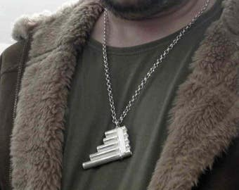 925 pan flute pendant,flute necklace,solid sterling silver,make music,music instrument,gift for her,gift for him