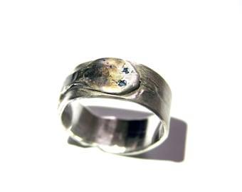 silver snake ring,handmade,snake diamond eyes