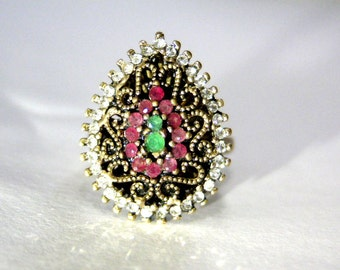 ruby emerald ring,zircons,antique,latvian ring