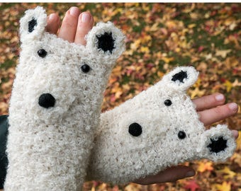 Polar Bear Fingerless Gloves (Boucle) ~ Handmade