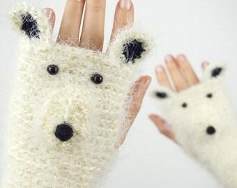 Polar Bear Fingerless Gloves (Glittering) ~ Handmade ~ Free Shipping Worldwide