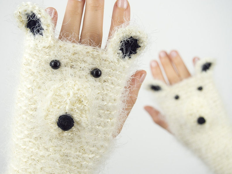 Polar Bear Fingerless Gloves Glittering  Handmade  Free image 0