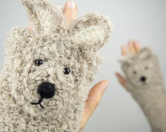 Rabbit / Bunny Fingerless Gloves (Beige) ~ Handmade ~ Free Shipping Worldwide