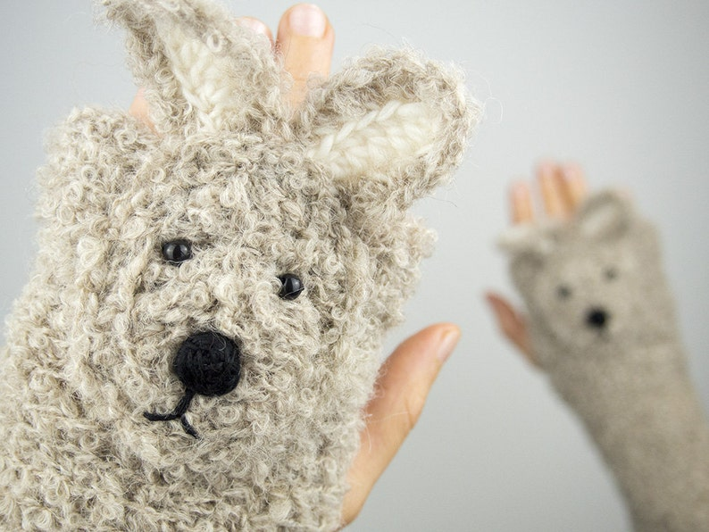 Rabbit / Bunny Fingerless Gloves Beige  Handmade  Free image 0