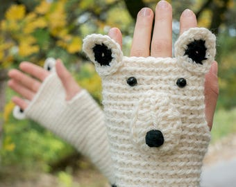 Polar Bear Fingerless Gloves (Wool) ~ Handmade ~ Free Shipping Worldwide