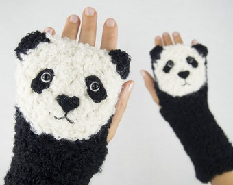 Panda Fingerless Gloves ~ Handmade ~ Free Shipping Worldwide