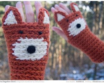Fox Fingerless Gloves ~ Handmade ~ Free Shipping Worldwide