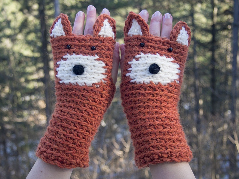 Fox Fingerless Gloves  Handmade  Free Shipping Worldwide image 0