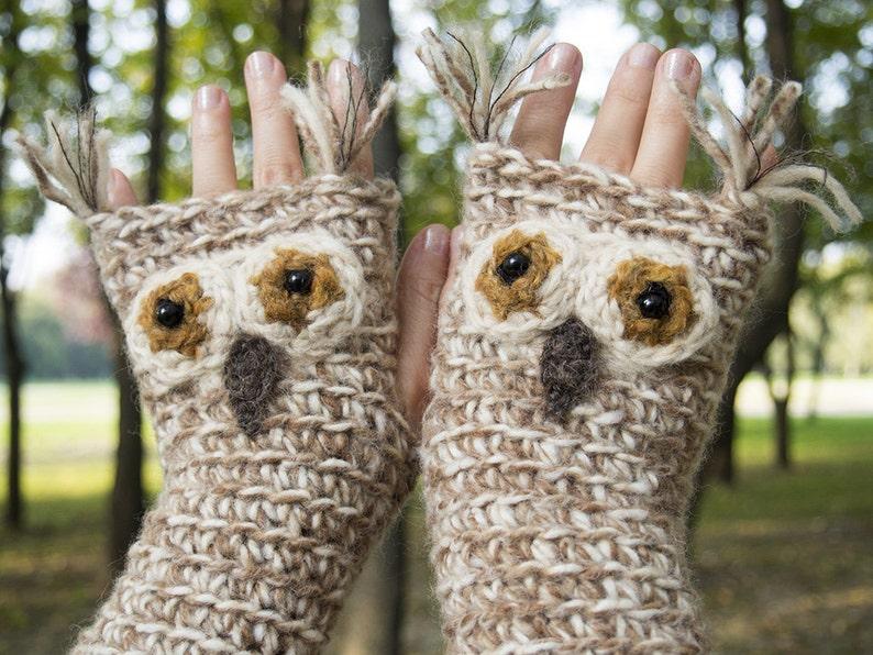 Owl Fingerless Gloves  Handmade  Free Shipping Worldwide image 0