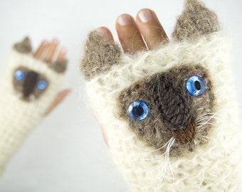 Cat Fingerless Gloves (Siamese) ~ Handmade ~ Free Shipping Worldwide