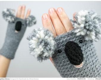 Koala Fingerless Gloves ~ Handmade ~ Free Shipping Worldwide