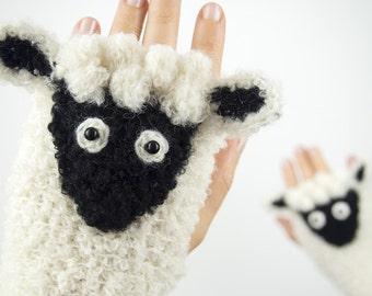 Lamb Fingerless Gloves ~ Handmade ~ Sheep ~ Free Shipping Worldwide