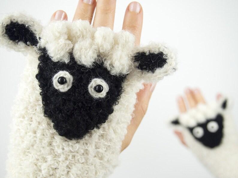 Lamb Fingerless Gloves  Handmade  Sheep  Free Shipping image 0