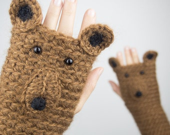 Bear Fingerless Gloves ~ Handmade ~ Free Shipping Worldwide