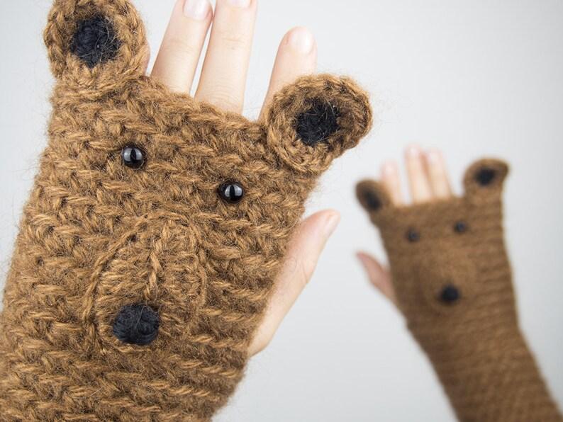 Bear Fingerless Gloves  Handmade  Free Shipping Worldwide image 0