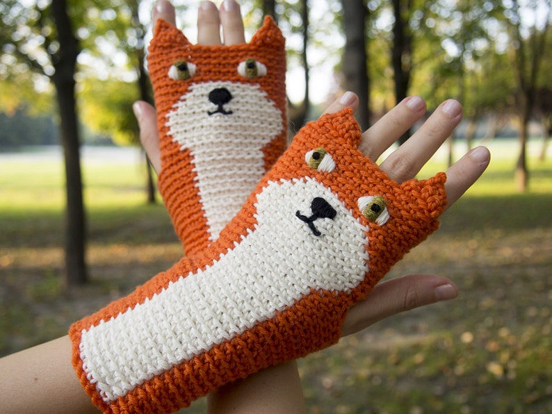 Fox Fingerless Gloves Orange  Handmade image 0