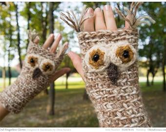 Owl Fingerless Gloves ~ Handmade ~ Free Shipping Worldwide