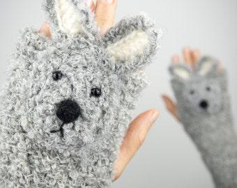 Rabbit / Bunny Fingerless Gloves (Grey) ~ Handmade ~ Free Shipping Worldwide