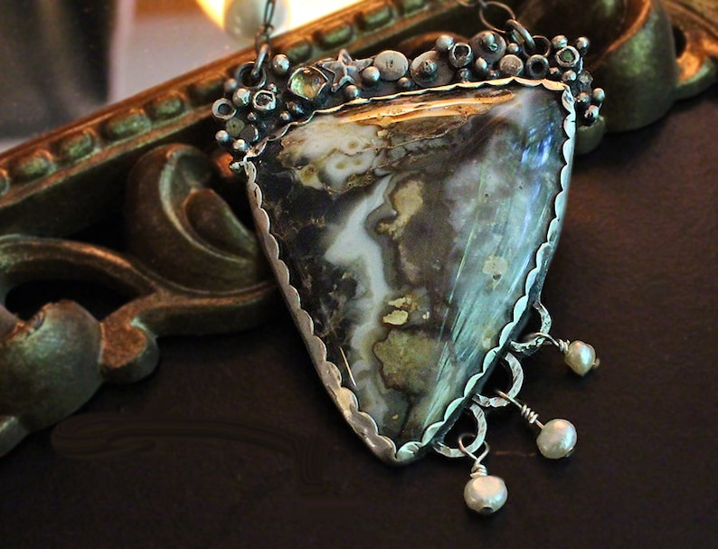 Handcrafted Industrial Organic Silver Prueheart Agate One of A Kind Brutalist Pearls Star Statement Necklace White Topaz Citrine