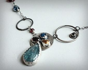 Sterling Silver Kyanite, Garnet and Citrine Necklace