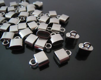 Finding - 18 pcs Silver Leather Cord Ends Small Cap For Round or Flat Leathers 9mm x 8mm x 4mm ( inside 6mm x 3 mm Diameter )