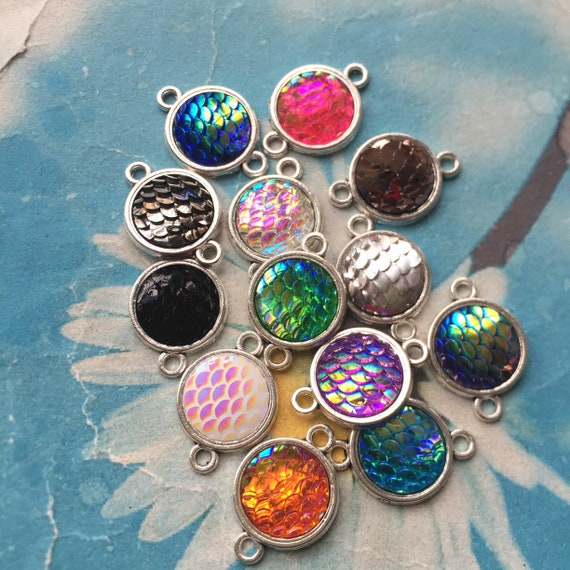 4 Mermaid scale charms orange antique silver tone FF310