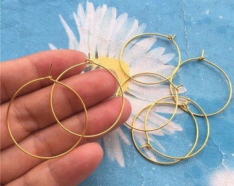 Promotion sale --15pairs (30pcs)30mm Gold plated  round ear hoops/earring hoops charms findings