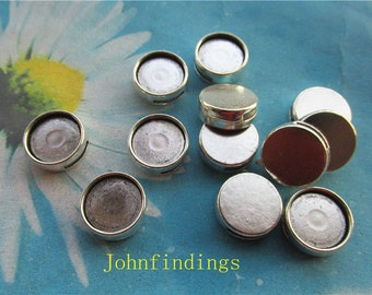 20pc 12mm antiqued silver slide bracelets blank bezel trays charms findings--spacer trays