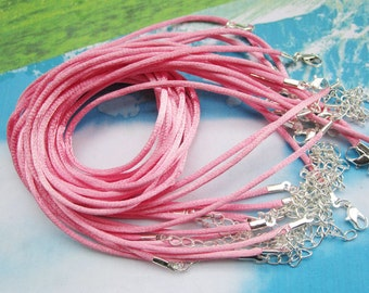 Promotion Sale--25 pieces 16-18 inch medium pink satin necklace cords including silver plated lobster clasps and extention chains