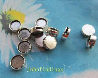 20pc 10mm antiqued silver slide bracelets blank bezel trays charms findings--spacer trays