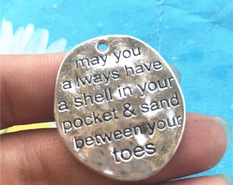 Heavy10pc 30x26mm tibetan silver may you always have a shell your pocket and sand between your toes pendant charms