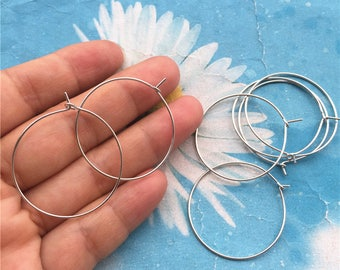Promotion sale --20pairs (40pcs)30mm silver round ear hoops/earring hoops charms findings