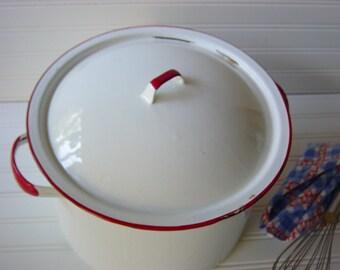 Reserved for bohart-- Vintage Enamelware Cooking Pot Kettle, White & Red Trim - Reduced